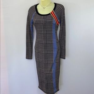 TRACY REESE RAGLAN PLAID BODYCON DRESS NWT XS